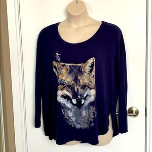 LOVE & LEGEND | 3X | Fox Print Split Side Soft Top